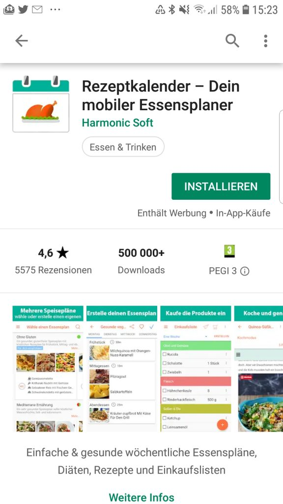 Rezeptkalender - Essensplanung per App auf habimex.de